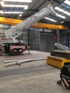 Liebherr LTM 1060-3.1 lifting inside a factory in Rugby