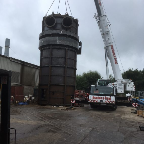 Liebherr LTM 1090-4.1 at work lifting a tank in stoke