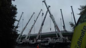 New Petrol Station Canopy install in Derby, eight cranes is a crowd, seven is just right.