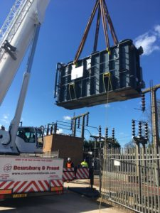 Our Explorer 5800 lifting in a 30 Tonne transformer in Warwickshire