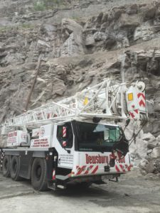 Our Liebherr LTM 1050-3.1 deep down in a quarry